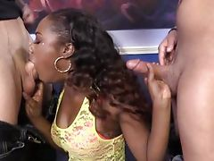 Ebony Chanell takes 2 cocks in her pussy