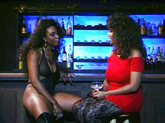 Lesbian ebony sluts having fun in bar