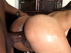 Ebony chick sucks huge black cock and has hairy pussy fuck
