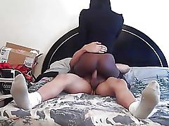 Seductive black shemale riding white dick